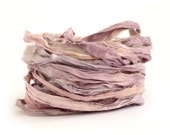 Recycled sari silk ribbon handdyed in Buddleia, 10metre length, textile arts, jewellery making, bouquet wrap, rose quartz pink, lilac purple