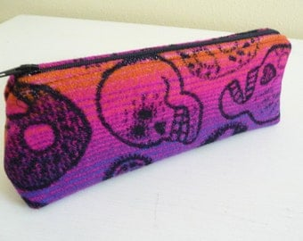 Sugar Skull Wool Long Zippered Pouch great for makeup or pencils
