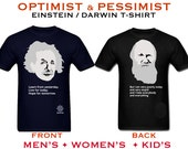 Einstein / Darwin T-shirt - Optimist and Pessimist Science Shirt, Geeky T-shirt, Gift for Science Student, Nerdy Quote Tshirt, Kids Science