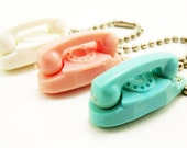 3 Vintage Lucite Plastic Princess Bell Telephone Key Chains PINK - Turquoise - White Phone Charms