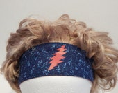 Grateful Dead 13 pt Lighting bolt Fabric Reversible Headband Elastic Back Hair band, Head Band, hippie, boho chic, hair wrap, headband
