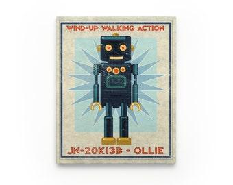 Robot Nursery Decor Boy- Kid Decor- Ollie Retro Robot Art Series Block- Art for Boys Room- Robot Nursery Art- Kid Bedroom
