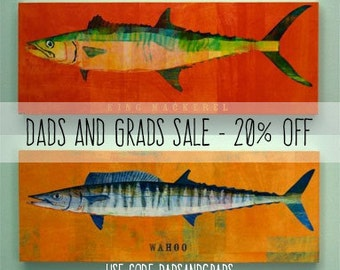 """Saltwater Fish Art Block Sign- Fathers Day Gift- Pick the Print- 4""""x11"""" Fish Wall Decor- Husband Gifts Under 25- Fishing Gifts for Men"""