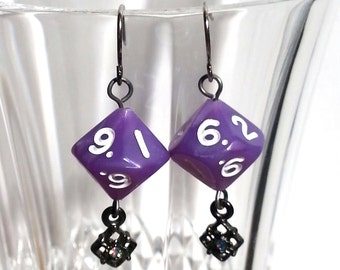 Lavendar Pearl D10 Gunmetal Silver Earrings with Iridescent Glass Crystal Drop for Classy Femme D&D Gamers