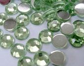 Acrylic Rhinestone Cabochon Beads, Faceted, Circle, Green, 6mm, 500pcs