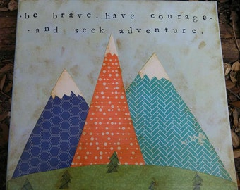 Mountain Adventure & Courage Woodland Nursery Art Decor Camping Rustic Painting Folk Custom Girl Boy Children's Room Wall Navy Orange Green