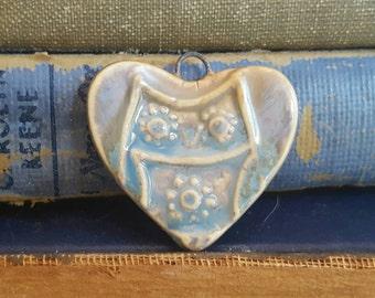Handmade Ceramic Heart Owl Pendant Blue Denim