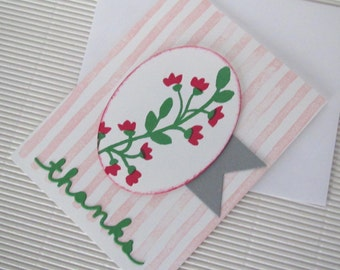Floral stripe thank you card stamped embellished pink green grey banner handmade stationery greeting card