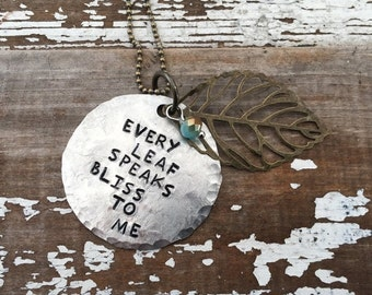 CRAZY SALE- Autumn Leaf Necklace-Stamped Jewelry-Every Leaf Speaks Bliss to Me