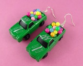 Miniature Toy Car Earrings - toy trucks with balloons - driving test pass gift - Driver's License congratulations! cute kitsch colorful fun!