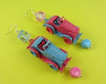 Miniature Toy Car Earrings - vintage style cars, pink and blue, retro kitsch fun, driving test pass gift, driver's license congratulations!