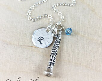 Personalized Oboe Charm Necklace, Hand Stamped Initial Jewelry, Sterling Silver Oboe Charm Necklace, Oboe Player Gift, Personalized Gift