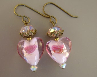 Pink Love - Vintage Glass Lampwork Floral Beads, Pink Crystals Recycled Repurposed Jewelry Earrings