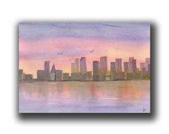 Seascape sunset  SKYLINE original watercolor SFA landscape at dusk