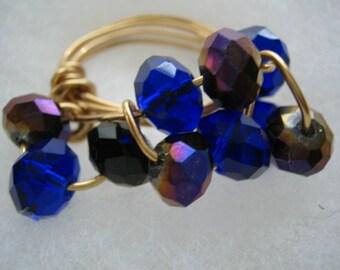 Swarovski crystal wired wrapped ring