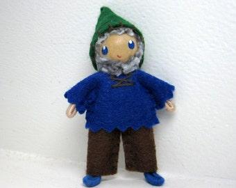 Gnome Bendy Doll by Princess Nimble-Thimble - Woodland Gnome Doll- Waldorf Nature Table- Waldorf Felt Bendable Tomte - Small Play Figure
