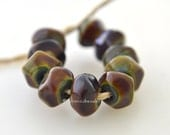 Lampwork Glass Beads Nugget Rocks RAKU Brown Tiny Handmade TANERES sra faceted