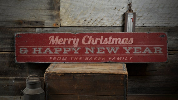 Merry Christmas Amp Happy New Year Wood Sign Personalized