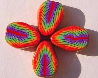 Rainbow Leaf Handmade Artisan Polymer Clay Beads