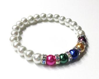 Pearl Birthstone Bracelet. Birthstone bracelet gift for mom. Gift for Grandma. Customized birthstone color bracelet.