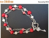 Valentine Valentine's Day Double Strand Bracelet, pink jade, white quartz, red coral, heart and key charm