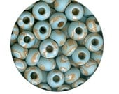 Island Paradise Vintage Ceramic Beads 10 - LOWERED PRICE - Stoneware Round, Large Hole, Marbled Blue, Beige, White Beachy Look