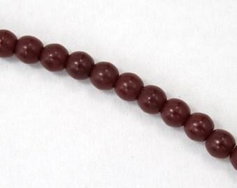 6mm Opaque Brick Red Druk Bead (50 Pcs) #GAD005