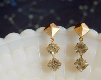 Diamond style vintage modern dangle earrings