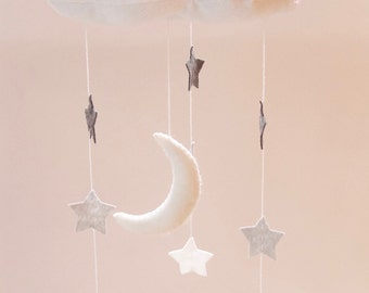 Cloud moon and stars nursery mobile in white and grey