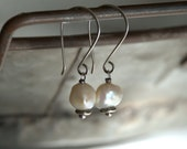 High Cotton - Pearls. Sterling Silver Oxidized Earrings. Handmade