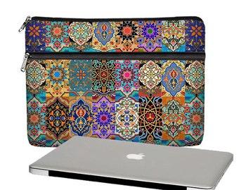 13 inch Laptop Sleeve, Boho Macbook Pro 13 Case, Persian Patchwork 13 Macbook Air Bag, Macbook Pro Retina, zipper pocket, jewel tones RTS