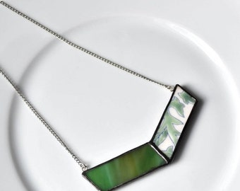 ETSYVERSARY SALE Broken China and Stained Glass Chevron Necklace - Green