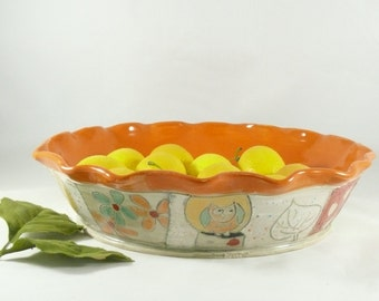 Pie Baking Pan, Pie Baking Dish, Quiche Bakeware, Pottery Wedding Gift, Ceramic Pie Plate, Cake Baker, Salad Bowl, Baking Dish, Pie Tin 569