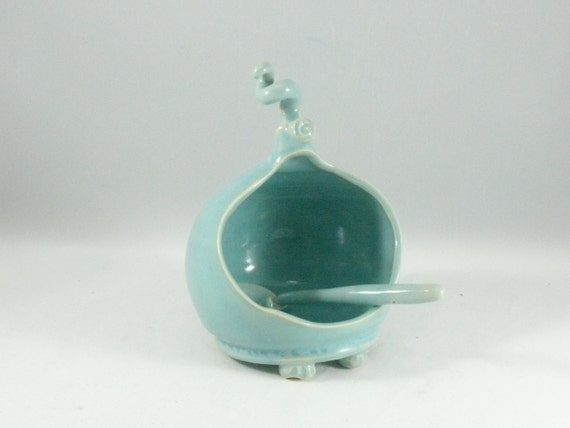 Blue french salt pig -  sugar bowl with spoon - salt holder - Handmade Ceramic  Salt Cellar  - Salt Dish -  home chef