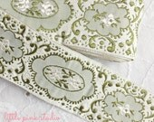 Vintage sage and ivory embroidered trim (new old stock)