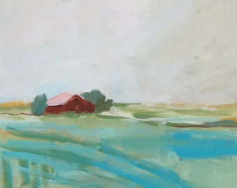 landscape painting square landscape red barn landscape wall art  landscape turquoise farmhouse rustic art