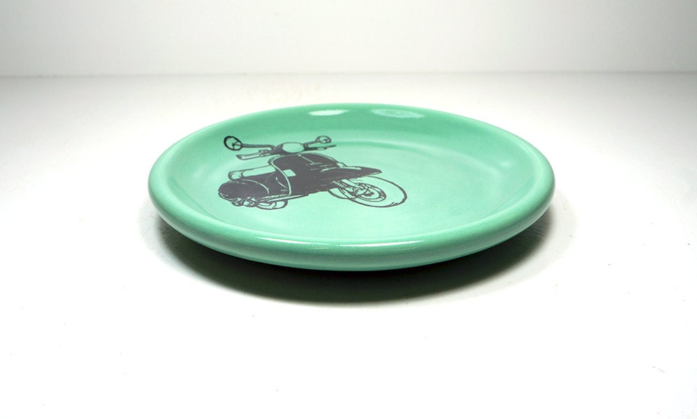 little plate with a Vespa print on it, shown on Blue Green - Made to Order / Pick Your Colour