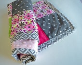 Baby Doll Blanket - Doll Quilt - Patchwork Doll Quilt - Minky Doll Blanket - Pink, Purple, Gray Doll Quilt
