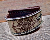Leather Cuff Wrap Bracelet, Equinox Print in Brown & Olive Taupe * SALE * Coupon Codes