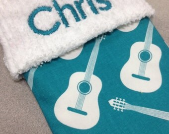 Aqua and White Guitar and Chenille Handmade Christmas Stocking with FREE US SHIPPING