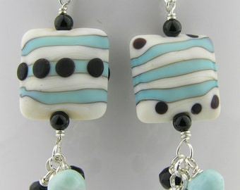 Handmade earrings Black Turquoise White Lampwork Onyx Larimar sterling silver cluster etched stripes dots