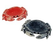 Ceramic Crab Tea Bag Holder Table Place Setting Accent Small Spoon Rest in Coral Red or Marine Blue Crab is an Astrological Sign of Cancer