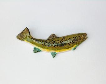 Ceramic trout fish art decorativ wall hanging
