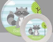 Raccoon Plate - Melamine Bowl or Plate Personalized (Plastic)