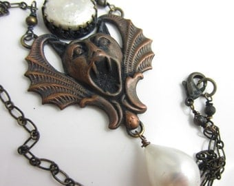 The Gargoyle's Scream Necklace - Brass Stamping with Baroque and Coin Freshwater Pearls