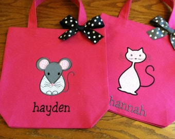 TOTE BAG Cat OR Mouse Custom Designed and Personalized Toddler or Big Kid Tote