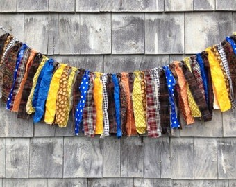 SALE Fabric Fringe BANNeR Boy Prop SHaBby CHiC Baby Photo Prop Rag Garland HoME DeCoR WaLL HANGiNG Brown Blue Yellow KIDs Room BaSKeT FiLLeR
