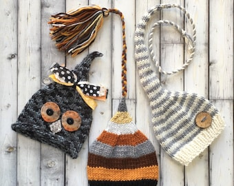 Newborn Baby Boy TRiPLET HATs Knit BaBY PHoTO PRoPs 2 Stripe Stocking Caps 1 Owl Beanie WooDSY Grey Brown Ivory HATs 3 Coordinating Toques