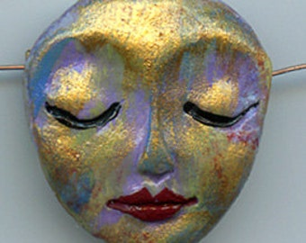 """Polymer Clay OOAK   1 1/4""""    Abstract  Art Doll  Face  Bead Side Drilled  ABB 3"""