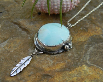 Natural Blue Moon Turquoise and Sterling Silver Feather Pendant - Bohemian sterling silver pendant necklace